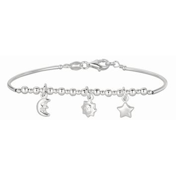 Silver Rhodium Finish Shiny Curve Bar+Diamond Cut Bead Children Bracelet with Pear Shape Clasp+Moon+Star Charm