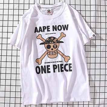 AAPE x ONE PIECE Joint Series Hot Stamping Pirate Taro Print Men's and Women's Round Neck Short Sleeve T-Shirt White