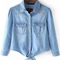 Faded Blue Lapel With Pockets Knotted Denim Crop Jacket