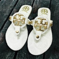 Tory Burch Fashion New Slippers Flip Flop Shoes Women White