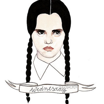 Wednesday Addams watercolour portrait PRINT The Addams Family