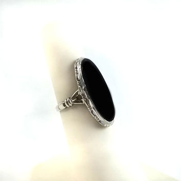 Art Deco Sterling Black Onyx Ring Size 5.75 - Oval Black Onyx Ring - Vintage 1970's Sterling Ring - Black Onyx Statement Ring