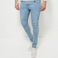 Blue Bleached Super Skinny Jeans