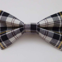 Plaid Clip on Bow Tie - Mens, Childrens, Womens Sizes - Black, White, and Yellow Plaid Print