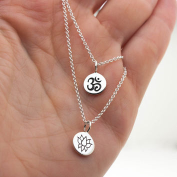 Best sterling silver om necklace products on wanelo double strand om necklace yoga jewelry sterling silver om pendant lotus flower pendant aloadofball Images