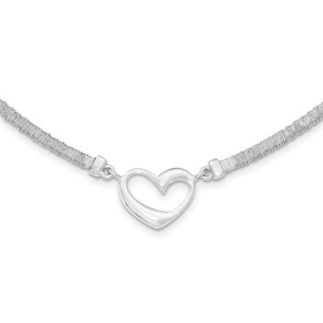 Sterling Silver Polished Textured Heart Necklace with 1in Extender QG3824
