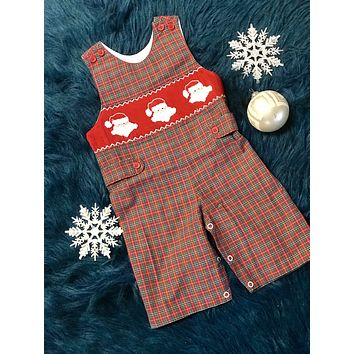 2018 Christmas Boys Plaid Smocked Santa Long Jhon