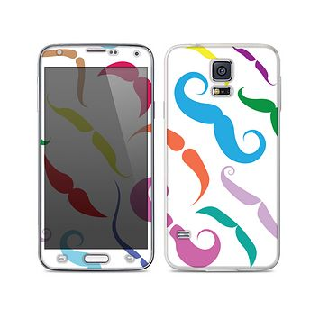 The Bold Colorful Mustache Pattern Skin For the Samsung Galaxy S5