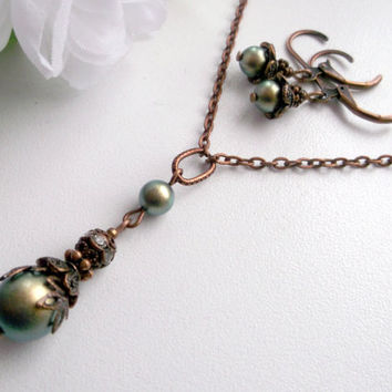 Green pearl jewelry set iridescent pearl set swarovski pearl pendant green pearl dangle copper and pearl set christmas gift for her copper