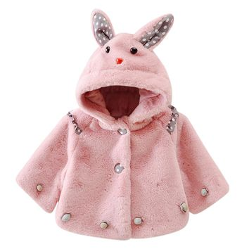 Baby Infant Girls Autumn Winter Hooded Coat Cloak Thick Warm Clothes children clothing drop ship