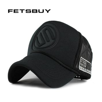 FETSBUY Summer Male And Female Trucker Hats Fitted Casual Hip-hop Street Mesh Hat Casquette Cap Unisex Print Baseball Caps