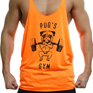 Pug's Gym Stringer Neon Orange Y Back, Pug Tank, Workout Clothing
