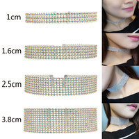 4 Size Sparking Choker Full Rhinestones Trendy Wedding Party Prom Chokers Necklace Bride OL Neck Chain necklace Two-color