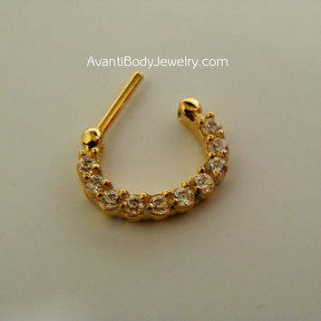 Septum Clicker - Gold Plated - 10 Clear Gem