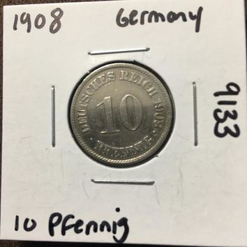 1908 German Empire 10 Pfennig Coin 9133
