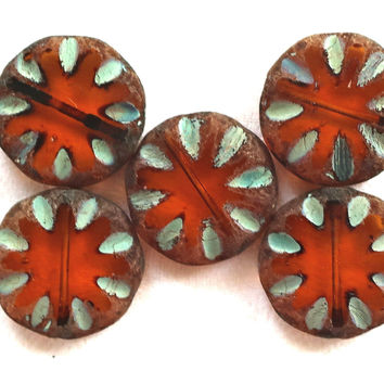 Five 18mm transparent dark amber, smokey topaz, brown picasso, Czech glass, table-cut, carved, notched, disc or coin beads C30101