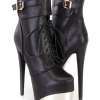 Black Lace Up Platform High Heel Booties Faux Leather