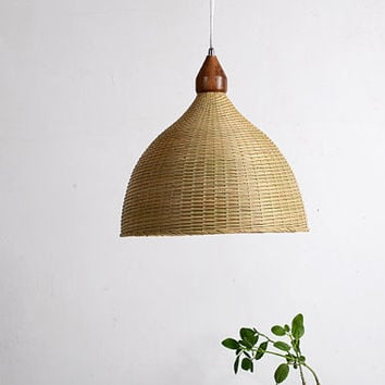 Bamboo and Wood ceiling lamp C - lamp set - Love Nature- Bamboo baskets