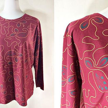 maroon long sleeved blouse (free size), African inspired floral print, tribal print