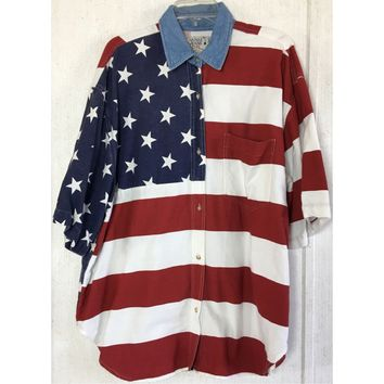 Quizz Jeans Plus Vintage American Flag Shirt USA Stars Stripes July 4th Button Up 24