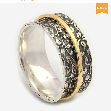 SALE FIligree Spinner rings for women, Oxidized floral ring, Solid 9ct Gold spinner ring, meditation rings, Silver leaf ring
