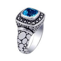 """AR-6045-BT-6"""" Sterling Silver Ring With Blue Topaz"""