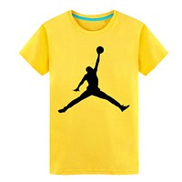 Jordan Fashion New Bust People Print Women Men Leisure Personality Top T-Shirt Yellow
