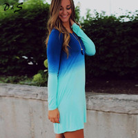 Blue Ombre Long Sleeve Mini Dress