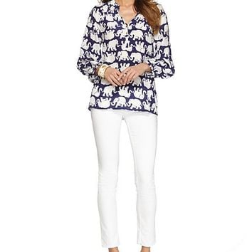 Elsa Top - Bright Navy Tusk In Sun - Lilly Pulitzer