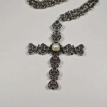 Vintage Tortolani Cross Crucifix Silver Tone Scroll Filigree Design Faux Pearl Tortolani Jewelry Crucifix Pendant Religious Jewelry