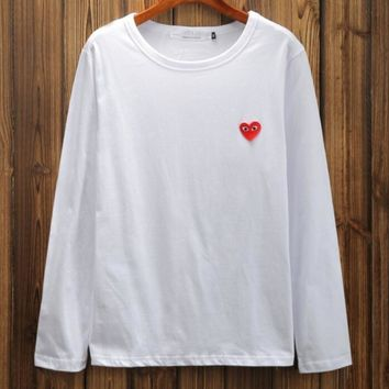 Play Heart embroidery Long sleeve T-shirt love round collar top
