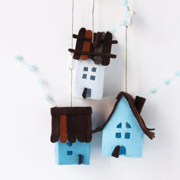 Houses ornaments felt,  Set of 3 rustic cottages, Handmade Housewarming Gifts, Blue shades.