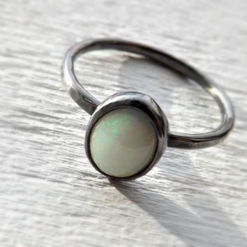 opal engagement ring - hammered silver ring opal - rustic wedding ring - black silver ring - fine opal ring - white opal ring