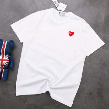COMME DES GAR ONS DRESS Classic Fashionable Heart Embroidery Round Collar T-Shirt Top White
