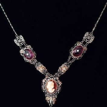"""Victorian Cameo Amethyst Necklace 800 Silver Cannetille Filigree Antique 20"""" Vintage"""