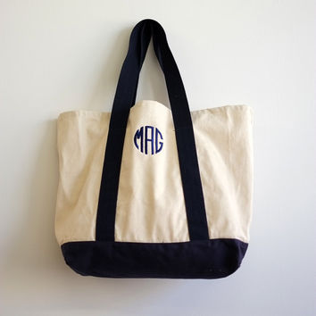 Monogrammed Tote Bag -- Preppy Accessory -- Personalized Book Bag -- College Gift -- Going Away Gift