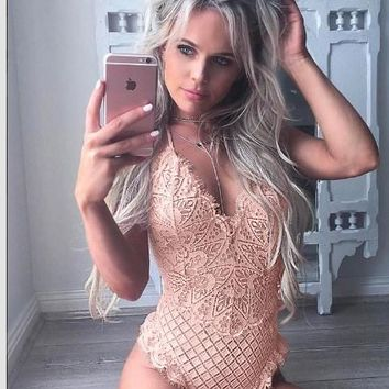 women Skinny 2017 hollow out jumpsuit romper body feminino overalls mesh Playsuit Sexy Spaghetti Strap Lace embroide Bodysuit