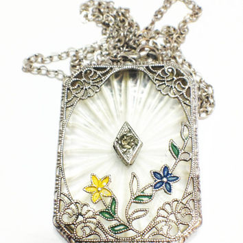 Art Deco Sterling Silver Necklace, Camphor Glass Pendant, Filigree, Enamel, Bridal Jewelry, 1920s, 1930s