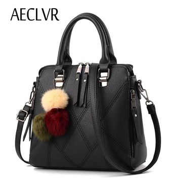 AECLVR Geometry Thread Decor PU Women Shoulder Bags Fur Ball Hanging Lady's Handbag OL Lady Female Business Party Versatile Bag