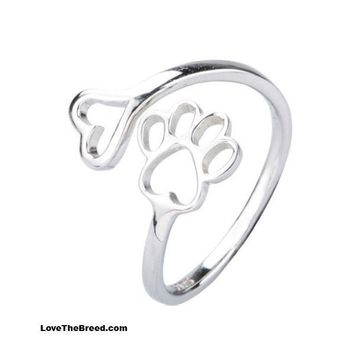 Heart Paw Wrap Ring Sterling Silver