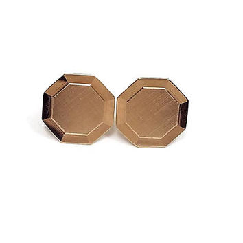 Octagon Cufflinks, Geometric Jewelry, Brushed Gold Tone, Retro 1970s 70s, Cuff Links, Gentleman Jewelry, Formal Accessories, Unisex Jewelry