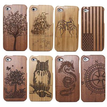 Traditional Bamboo Sculpture Wood phone Case Covers For iphone 4 4G 4S 5 5s 6 6s 6plus tree/ship/owl/National flag phone cases