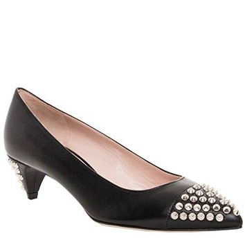 Miu Miu Studded Leather Kitten Heel Pumps