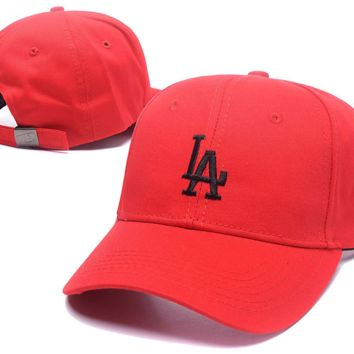Red LA Embroidered Baseball Cap Hat