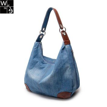 Wallike Denim Handbags Large Women Messenger Bags Purses Jean Bags Women Big Hobos Ladies Travel Hand Bags Tote Cross Body Bag