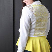 Semi-Sheer Lace Back Crop Jacket