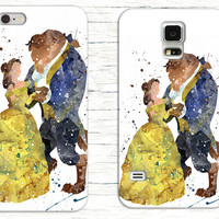 Belle and The Beast Watercolor Phone Case, Disney iPhone Case
