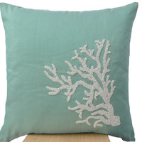 Teal Decorative pillow with white coral in beads -Oceanic pillows -Teal cushion -Embroidered Pillow- 16X16-Couch pillows -Coral reef pillow