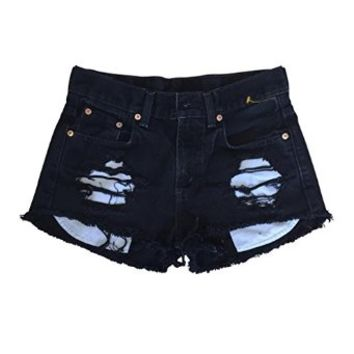 Women's Low Rise Black Denim Destroyed Gap Jeans Ripped Cut-Off Shorts