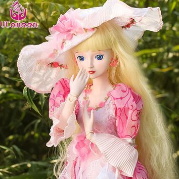 Ucanaan 60CM BJD Girl Doll Pretty Princess Dolls With Outfit Pink Dress Hat Wig Makeup Toys For Children SD Silicone Doll Reborn